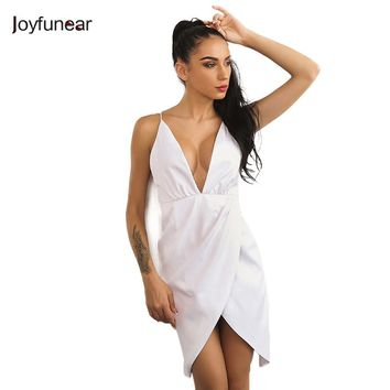 New Arrivals Sexy Club Wears Women Dress Off Shoulder Deep V Neck Asymmetry White  Bandage Backless Keen-length Dresses