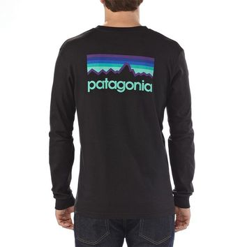 Patagonia Men's Long-Sleeved Line Logo Organic Cotton T-Shirt