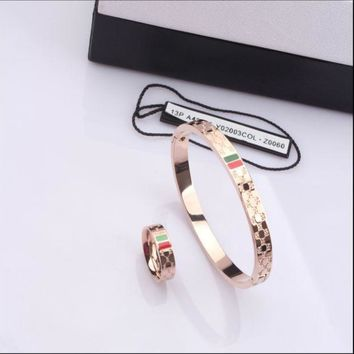 PEAPYV2 GUCCI Woman Fashion Titanium Lettering Bracelet Ring Jewelry