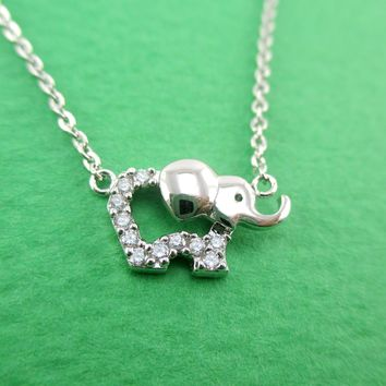 Tiny Baby Elephant Outline Shaped Rhinestone Pendant Necklace in Silver