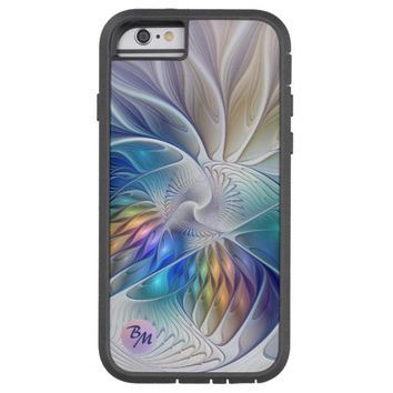 Floral Fantasy, abstract and modern, Monogram Tough Xtreme iPhone 6 Case