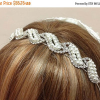 Bridal headband, rhinestone headband, Crystal headband, pearl hair jewelry, pearl headband, bridal hair jewelry, wedding accessory