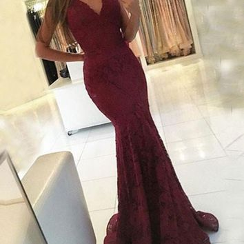 Sexy V Neck Mermaid Maroon Lace Prom Dress, Lace Formal Dress, Lace Mermaid Bridesmaid Dress
