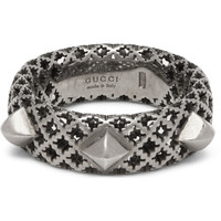 Gucci - Diamantissima Palladium-Plated Silver Ring