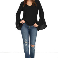 Contented Sigh Black Long Sleeve Top