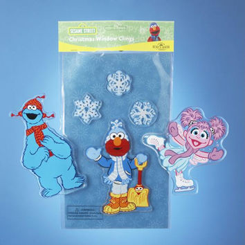 4 Sesame Street Christmas Window Clings - Officially Licensed