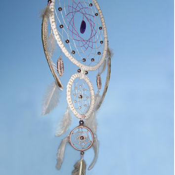 White Dream Catcher, Large Triple Dream Catcher, Dreamcatcher, Heavenly dream, handmade,  violet stone, beads, feathers