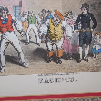 "Vintage Rudolf Lesch Fine Art Print, ""Rackets"", hand drawn, etched & colored, by Theodore Lane, Victorian Men playing Tennis"