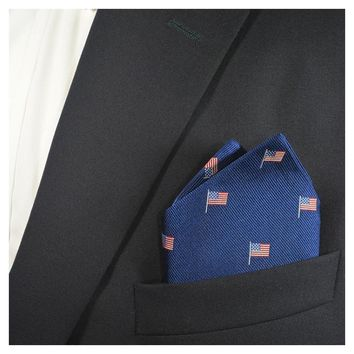 American Flag Pocket Square - Navy, Woven Silk