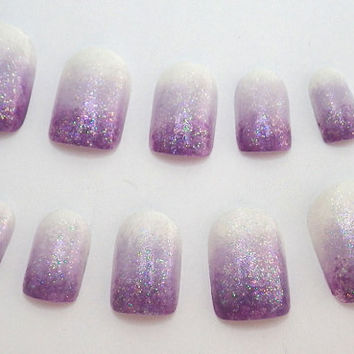 Nails Ombre Purple Gradient by NailKandy on Etsy