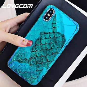 LOVECOM Blu-Ray Phone Case For iPhone 6 6S 7 8 Plus X Cool Laser Blue Fish Scale Soft IMD Phone Back Cover Cases High Quality