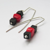 Red An Black silver Earrings - Silver Dangle wih Red Coral & Square black Turguoise - Simple Handmade Jewelry
