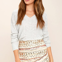 Turning Tables Cream Sequin Mini Skirt