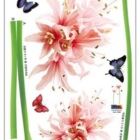 (20x28) Giant Flower Sprouts and Butterflies Wall Decal