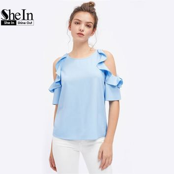SheIn Womens Tops and Blouses Summer 2017 Half Sleeve Flounce Open Shoulder Top Blue Cold Shoulder Casual Blouse