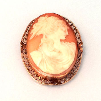 Cameo Lady Pin or Brooch, Victorian, 14K Gold, Pre Raphaelite, Art Deco Vintage Fine Jewelry