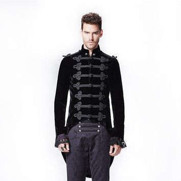 Gothic Palace Stitching Asymmetric Dovetail Coat Punk Man Long Victorian Coat With Swallow Tail Y-593 Black Soldier Jacket