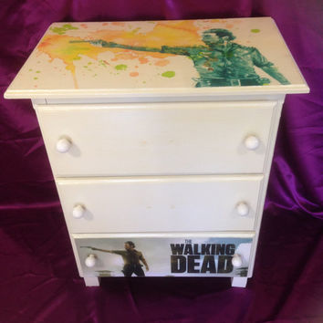 Walking Dead themed small dresser, night stand, featuring Rick, white with  art details, zombie hunter, TV  show themed,with three drawers