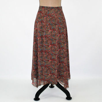 Brown Print Skirt Paisley Skirt Chiffon Skirt Women Small Boho Skirt Size 6 Skirt Fall Skirt Boho Clothing Liz Claiborne Womens Clothing