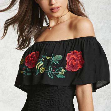 Rose Embroidered Flounce Top