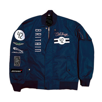 Club Foreign Britain MA-1 Bomber Jacket in Navy