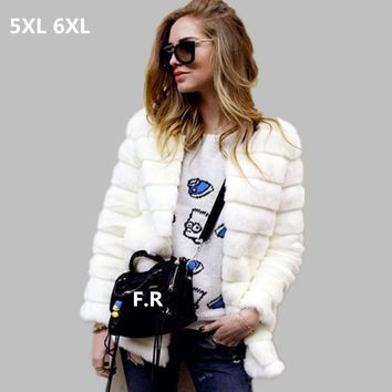 2018 Women Cheap Faux Fur Coat Winter Cheap Mink fur Jacket manteau Female Warm Plus size Overcoat long Soft 5XL 6XL Outwear W69