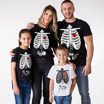 Family Halloween shirts, matching Halloween shirts,Halloween skeleton shirt, Halloween shirt, Set of THREE shirts, UNISEX