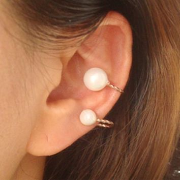 Simply Pearl Ear Cuffs Set (No Piercing, Adjustable) - LilyFair Jewelry