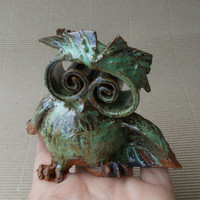 Cute little owl , nome decor , ceramic figurine , fan art. Symbol of wisdom.