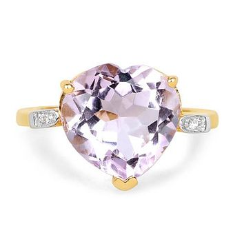 A Natural 5.3CT Heart Cut Rose de France Pink Amethyst 14K Yellow Gold Ring