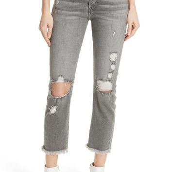 FRAME Le Original High Waist Raw Edge Jeans (Cold Ash) | Nordstrom