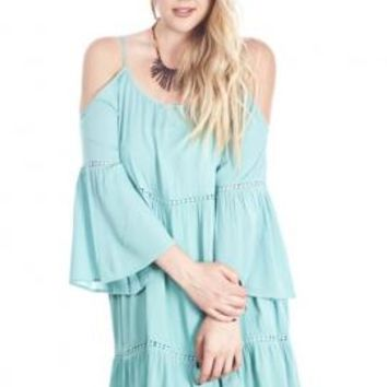 Bohemian Dream Off-the-Shoulder Peasant Dress in Mint | Sincerely Sweet Boutique