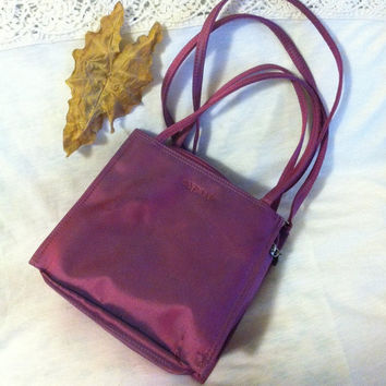 Purple Handbag Vintage Esprit Small Iridescent Purple Crossbody Bag Magenta Nylon Messenger Bag 1980's or 1990's Purse Top and Long Handles