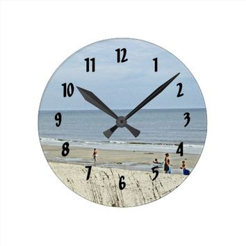 Relaxing Day Out On The Beach Round Clock