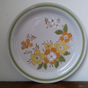 Vintage Stoneware Country Casual Spring Garden Dinner Plates (3)