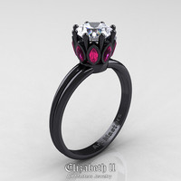 Elizabeth II - Classic 14K Black Gold Marquise Pink Sapphire 1.0 Ct Round Diamond Solitaire Ring R90-14KBGPSD