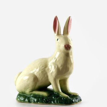 Vintage Pottery Rabbit Garden Ornament, White Rabbit, Spring Decor