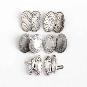 Vintage Art Deco Sterling Silver Cufflinks - 1920s Oval or Marquise Antique Men's Dress Shirt Wedding Accessory Jewelry Cuff Links