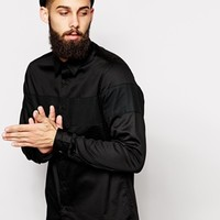 ASOS Shirt In Long Sleeve With Mesh Chest Panel