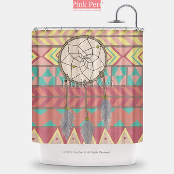 Dream Catcher with Aztec Tribal Pattern Shower Curtain Home & Living 086