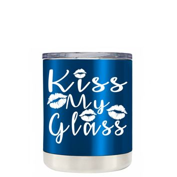TREK Kiss My Glass on Translucent Blue 10 oz Lowball Tumbler
