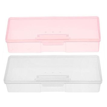 ESBONEJ OPAL FERRIE - Plastic Transparent Nail Supplies Storage Box  193 mm x 80mm x 39mm Buffer/Files Organizer Case