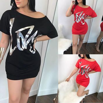 """""""ASYM"""" Sexy Womens Short Sleeve Golden Printed Letters Blouse TOP Ladies Mini Dress"""