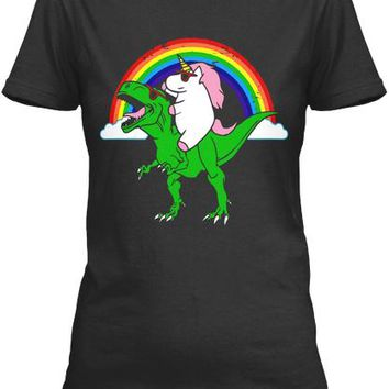 Party Dinosaur T Rex With An Unicorn Shi