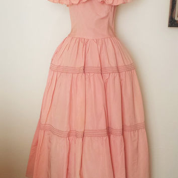 Vintage 1940s Coral Party Dress / 40s Taffeta Dress / Tea Length / Peach Party Dress / 1940s Formal Dress /