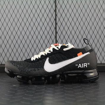 Nike Air 2018 Off White ?? Vapormax For Women Men Running Sport Casual Shoes Sneakers Black