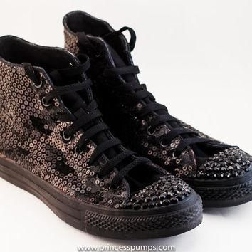 All Black Monochrome Sequin Converse Canvas Hi Top Sneakers Shoes with Rhinestoned Toe