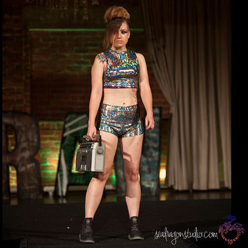 Holographic Crop Top -12 Colours- Burning Man & Festival Clothing, Festival Tops, Hoop, Performance, EDM, Rave, Aerial, Summer