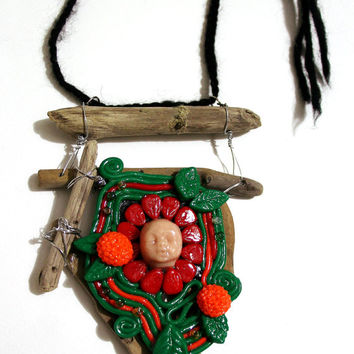 Polymer clay art, mixed media sculpture, assemblage art, polymer clay, wall hanging, driftwood sculpture, woodland art