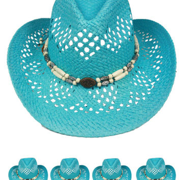 cut out open light blue cowboy hat with beads band Case of 72